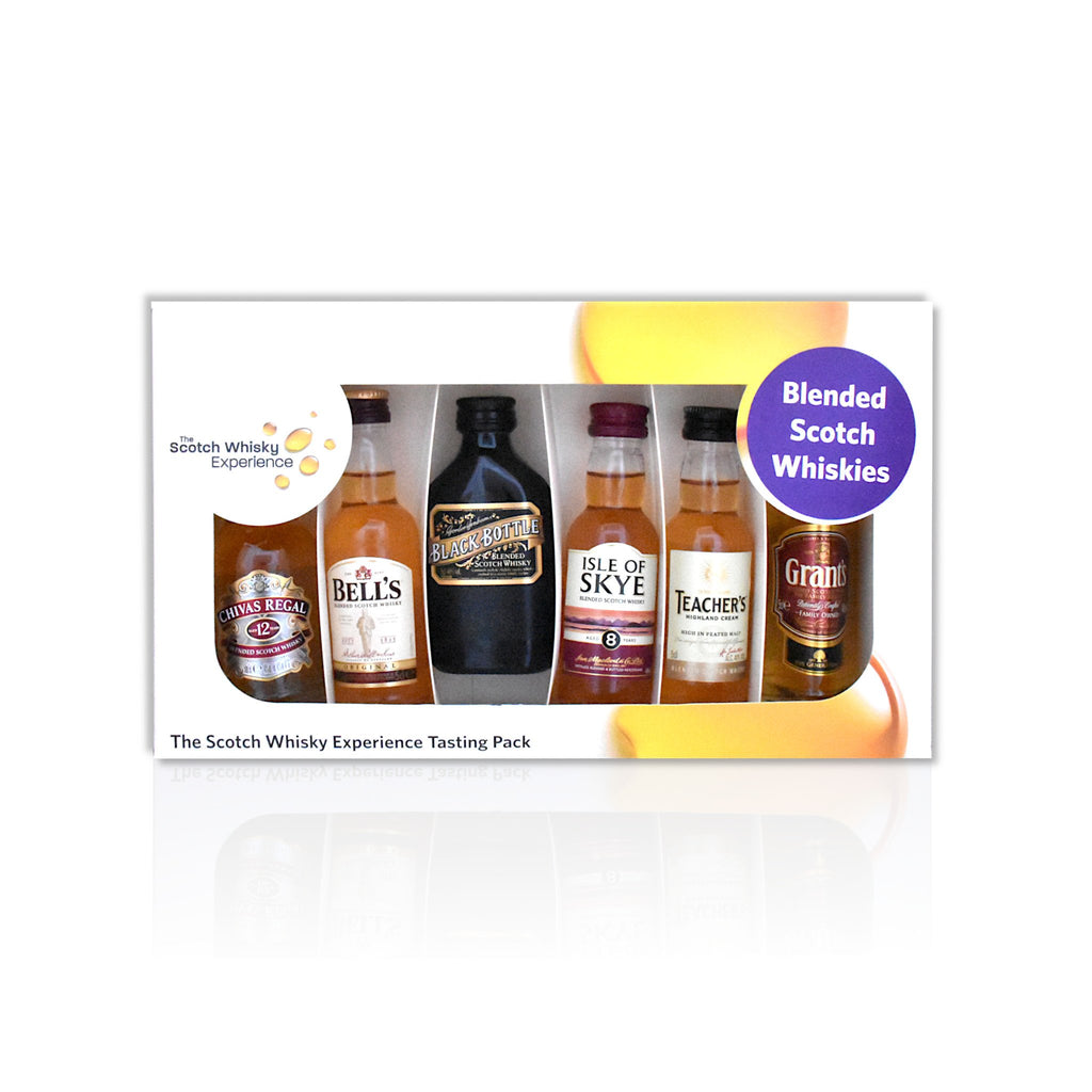 Blended miniature whisky tasting pack of 6x 5cl bottles