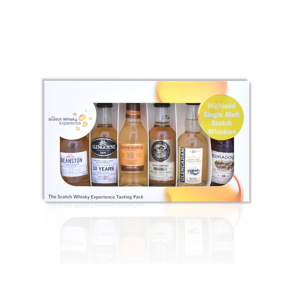 Highlands miniature whisky tasting pack of 6x 5cl bottles