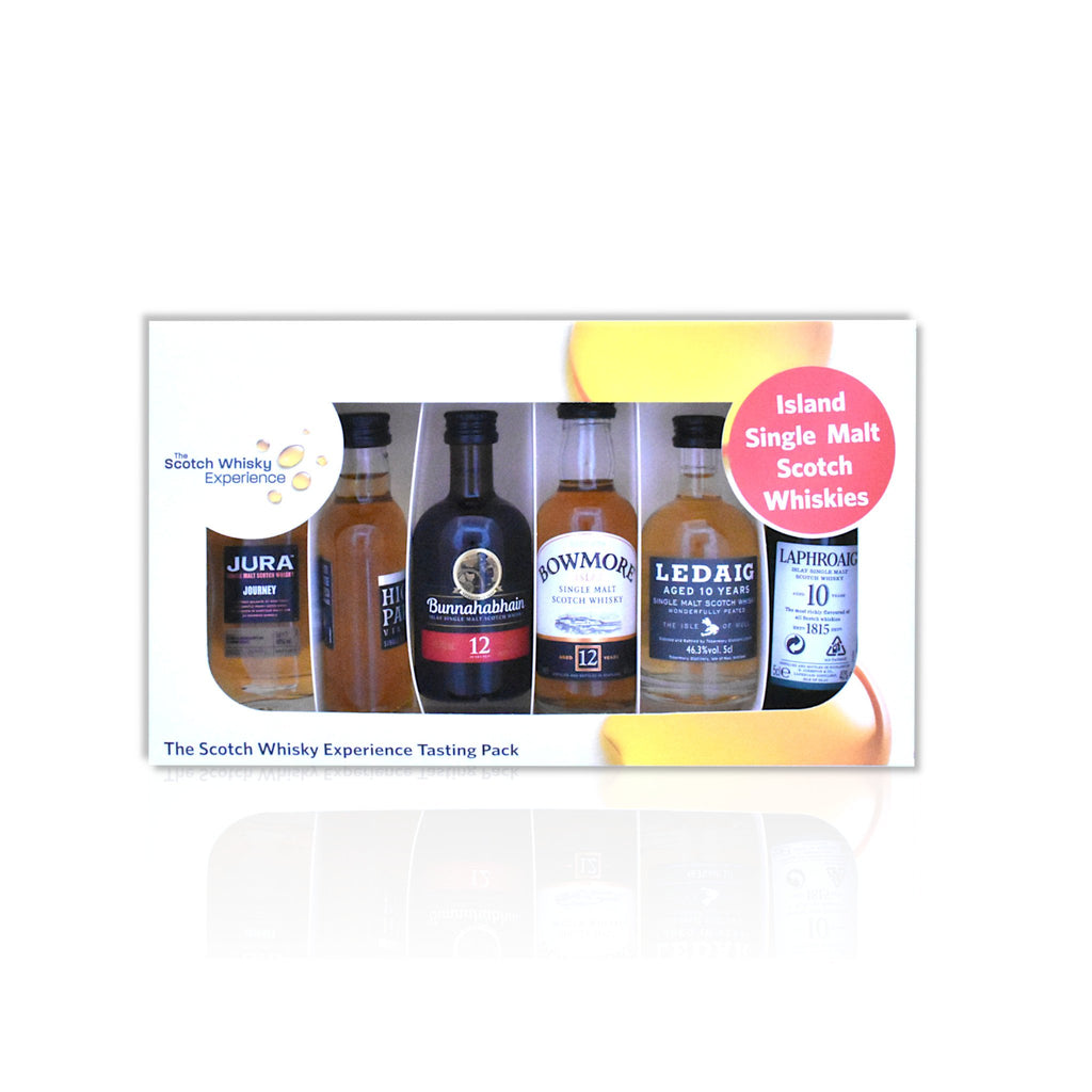 Islands miniature whisky tasting pack of 6 x5cl bottles