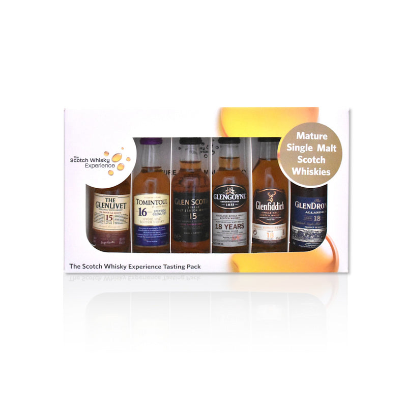 Mature miniature whisky tasting pack of 6x 5cl bottles