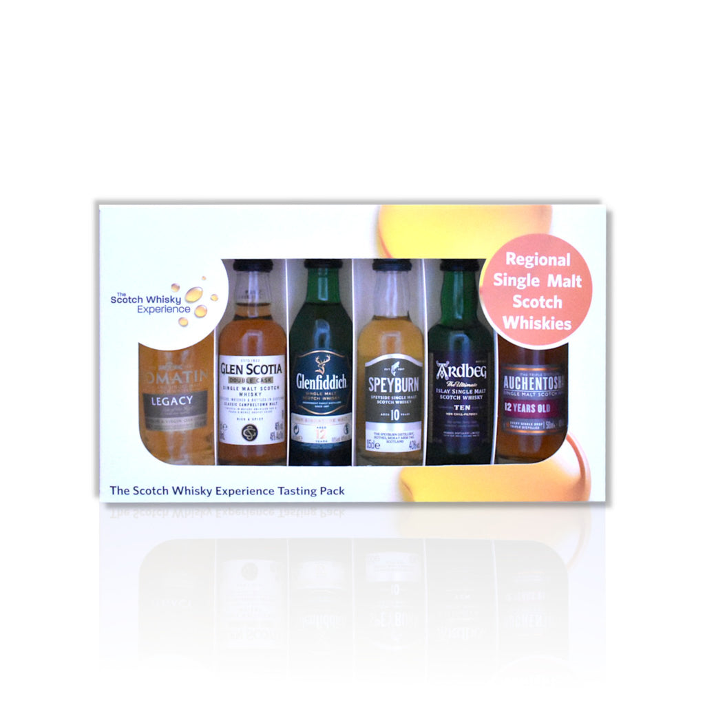 Regional miniature whisky tasting pack of 6x 5cl bottles