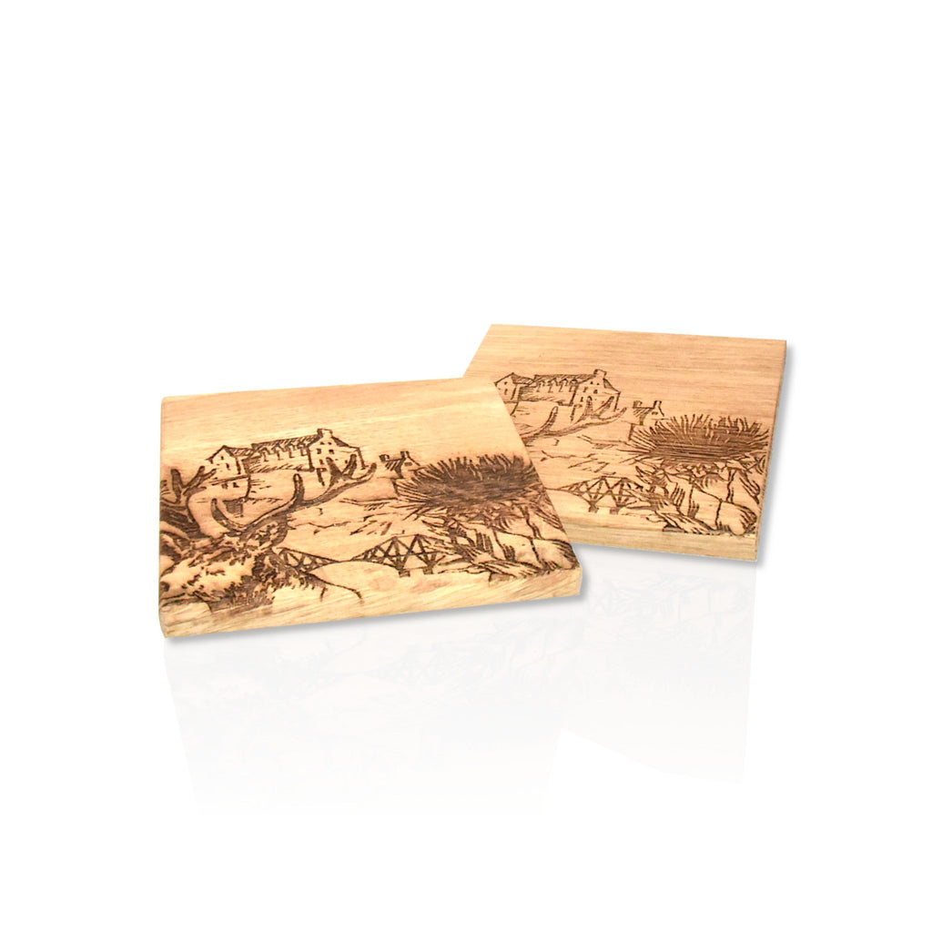 Wooden oak coasters