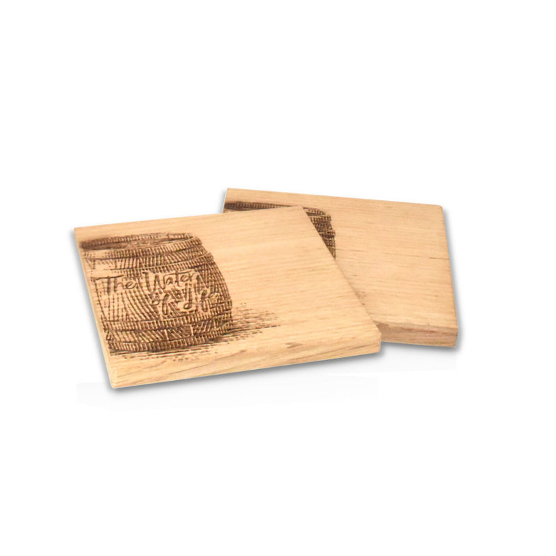 Wooden oak coasters with whisky barrel etching