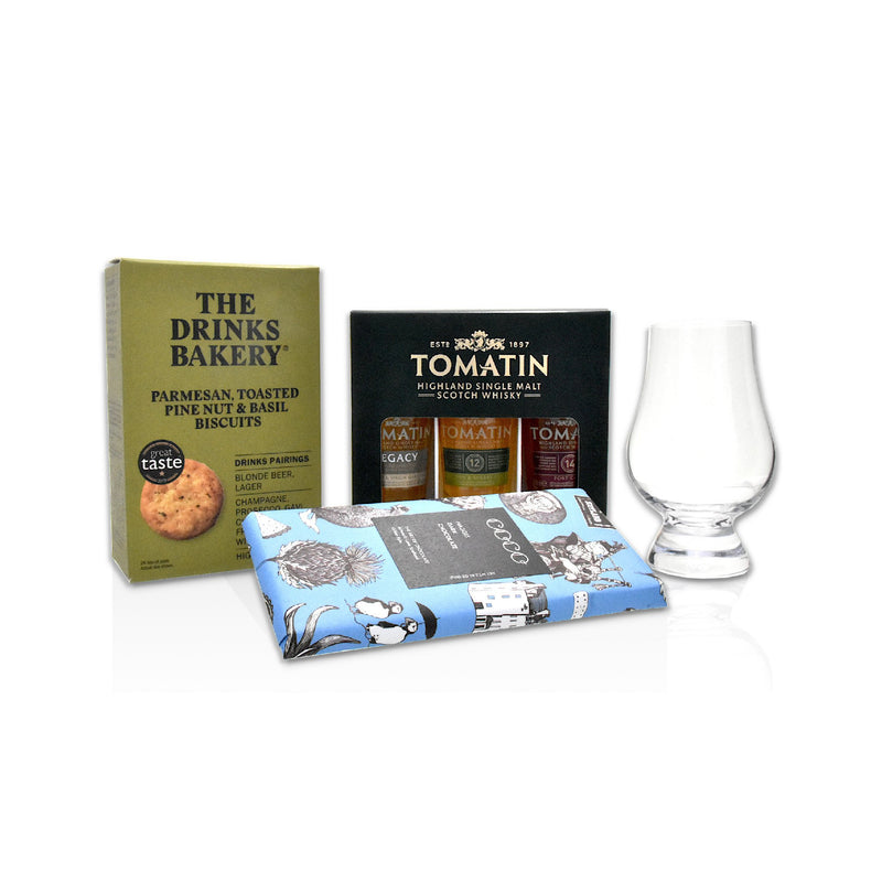 Tomatin whisky gift pack of 3 x 5cl bottles, parmesan drinks biscuits, coco chocolat bar - dark chocolate, haggis spice, Glencairn whisky glass