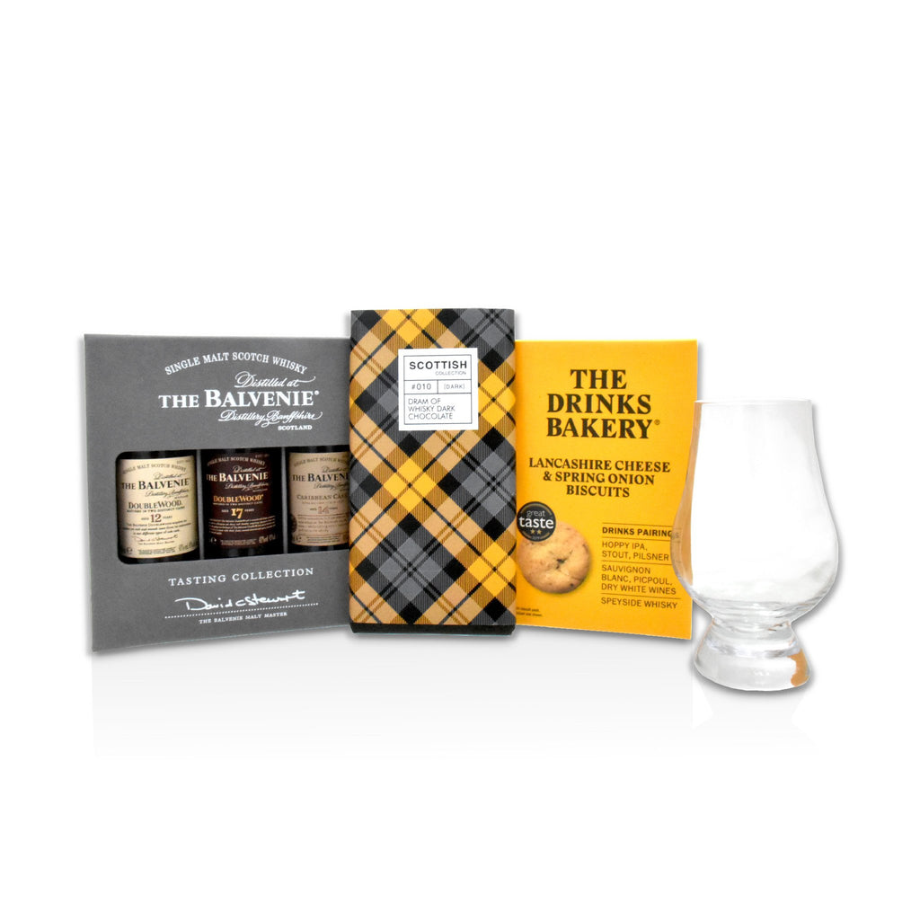 Bundle of products; Balvenie tasting collection, Lancashire cheese drinks biscuits, whisky dark chocolate, glencairn glass