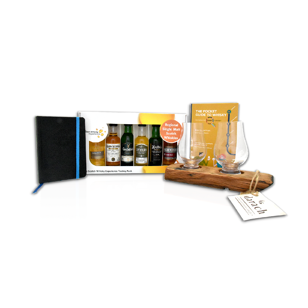 Scotch Whisky Discovery Gift Set includes 6 pack of Regional Single Malt Scotch whiskies (5cl), The pocket guide to whisky book, whisky tasting stave with 2 Glencairn glasses and whisky tasting journal book.