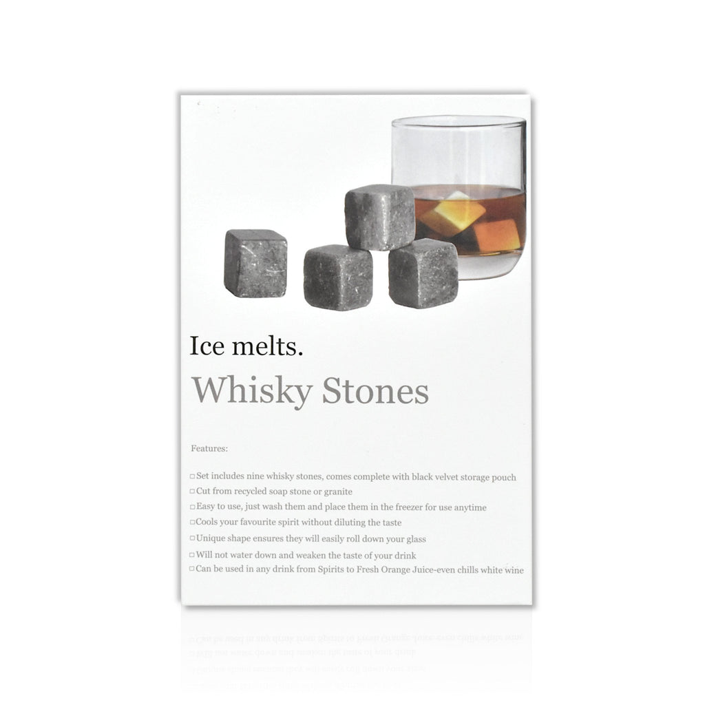 Box of 9 whisky stones which chill your drink without diluting the flavour