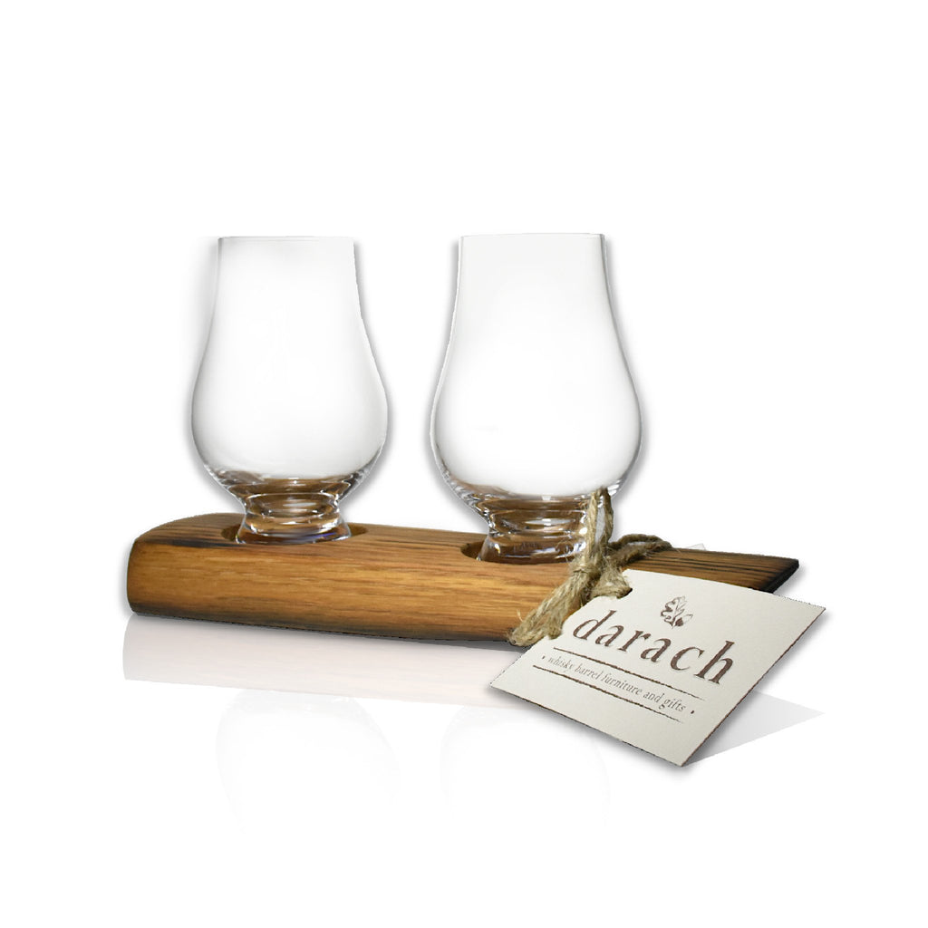 Whisky World Stave tasting Tray Glass 2 Glass