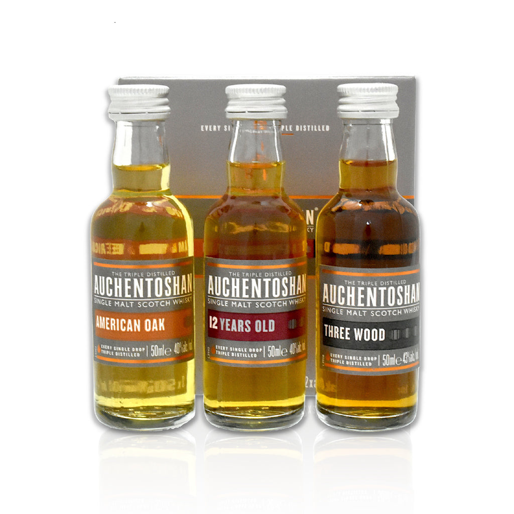 Auchentoshan gift pack 3x 5cl bottles of American Oak, 12 years old and Three Wood