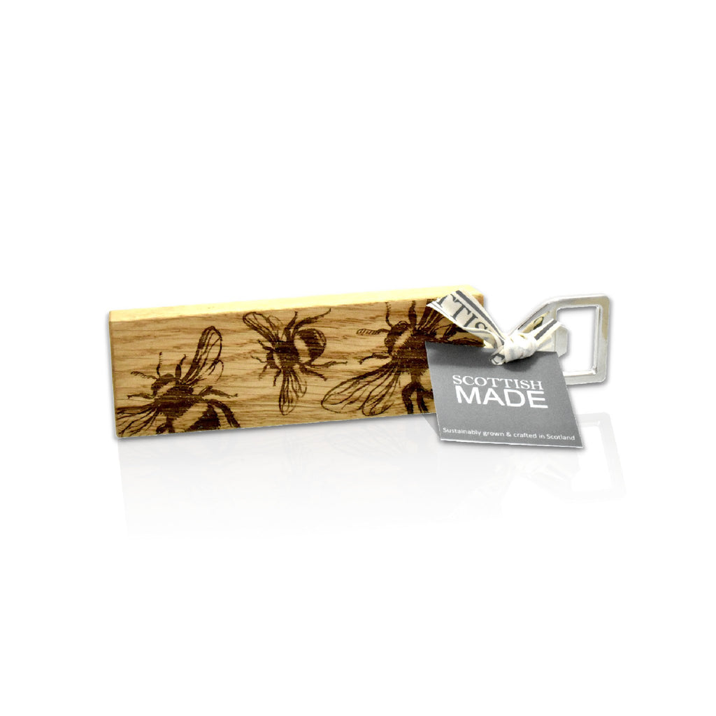 wooden bottle opener with bee emblem