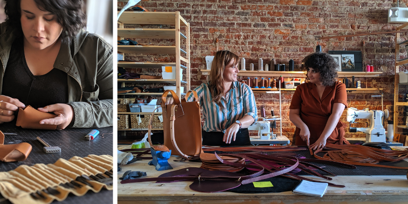 Three Women Talking and making leather products