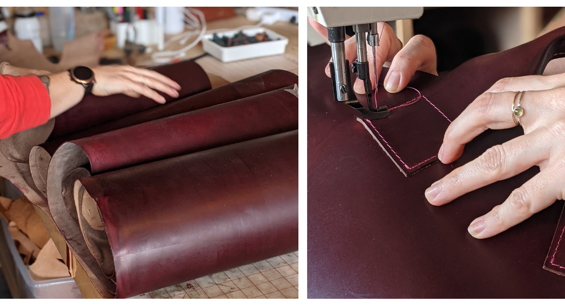 Image of Horween Black Cherry Leather hides rolled on a table and Leather being stitched in Hot pink