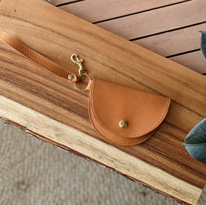 Ester Mini Wristlet in Caramel Tan