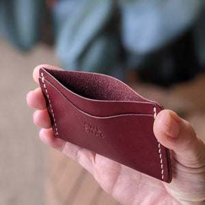 Three-Pocket Wallet in Burgundy Leather