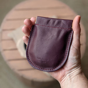 Pebble Pinch Pouch in Burgundy + Pink