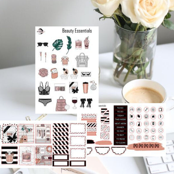Functional sticker kit, Beauty Essentials sticker kit
