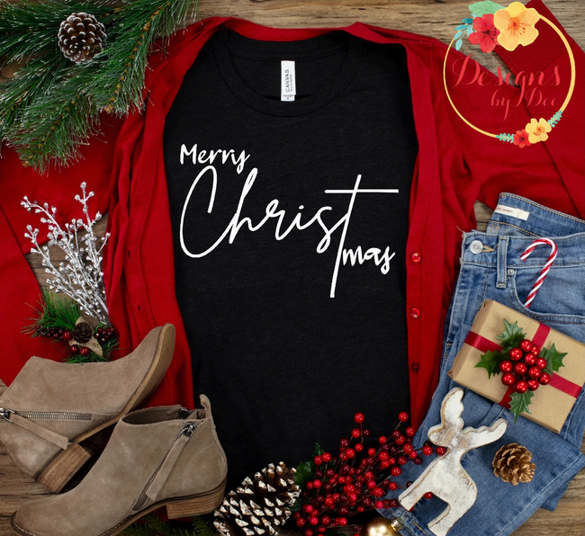 Black Merry Christmas Long Sleeve Tee-White Font