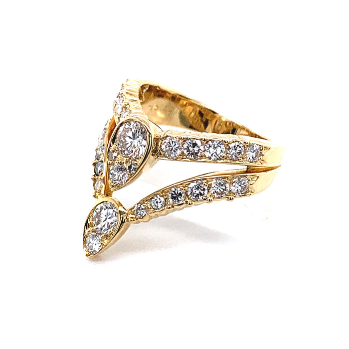 Van Cleef & Arpels Gold and Diamond Teardrop Ring
