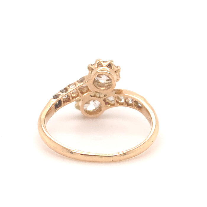 Antique Gold Toi et Moi Diamond Ring