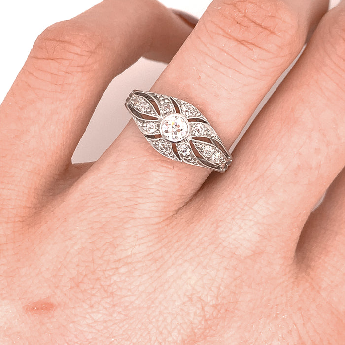 Edwardian Filigree Diamond Ring in Platinum