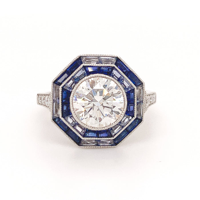 Tiffany & Co. Sapphire Diamond Platinum Octagonal Ring