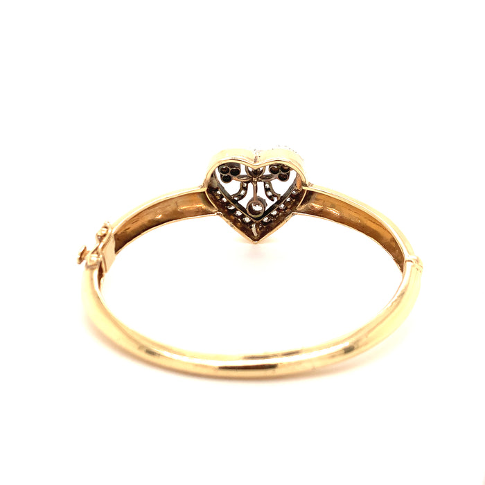 Victorian Diamond Heart Bangle