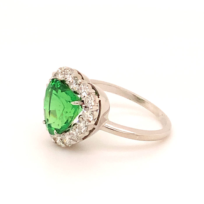 Tsavorite Garnet with Diamond Halo Heart Shaped Ring