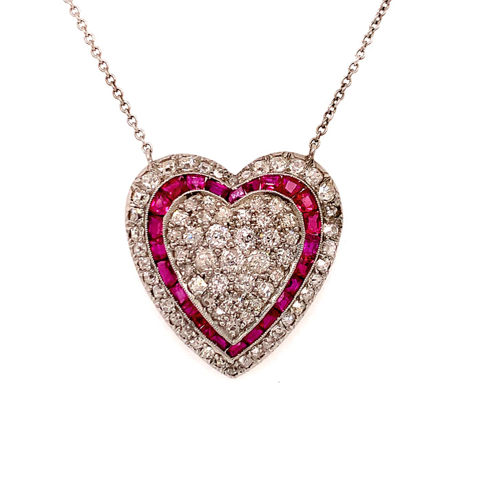 Edwardian Ruby and Diamond Pave Set Heart Pendant