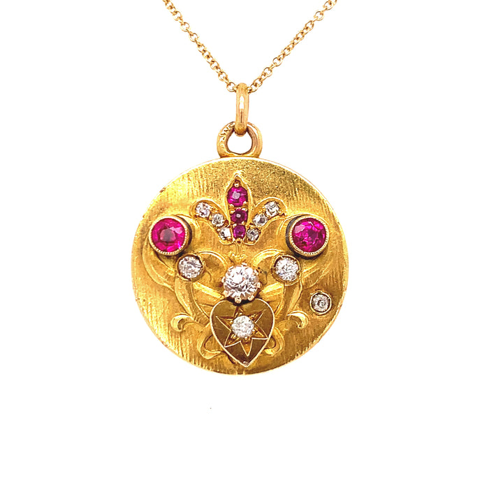 Fleur-De-Lis and Heart Ruby and Diamond Locket