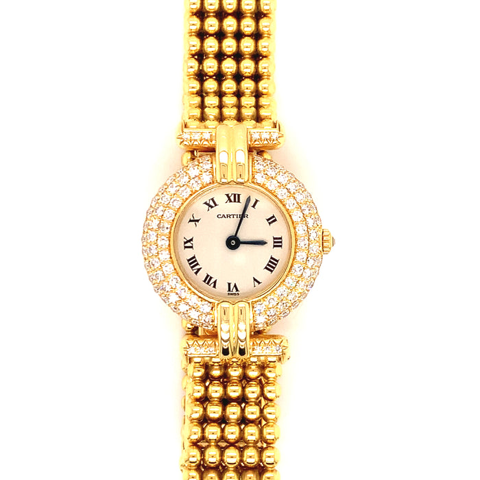 Cartier Yellow Gold and Diamond Colisee Wristwatch with Bead Bracelet