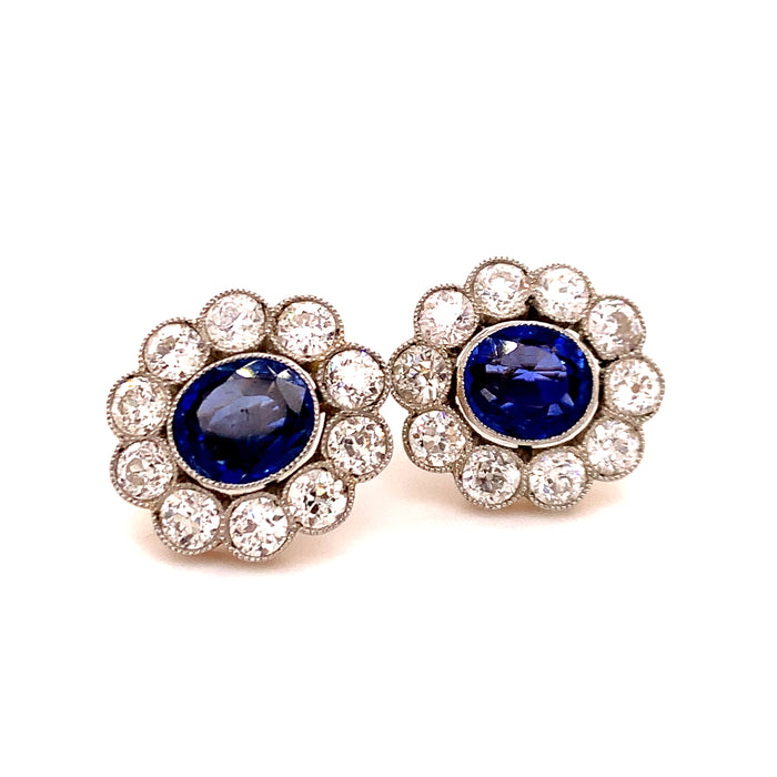 Victorian Sapphire and Diamond Cluster Earrings