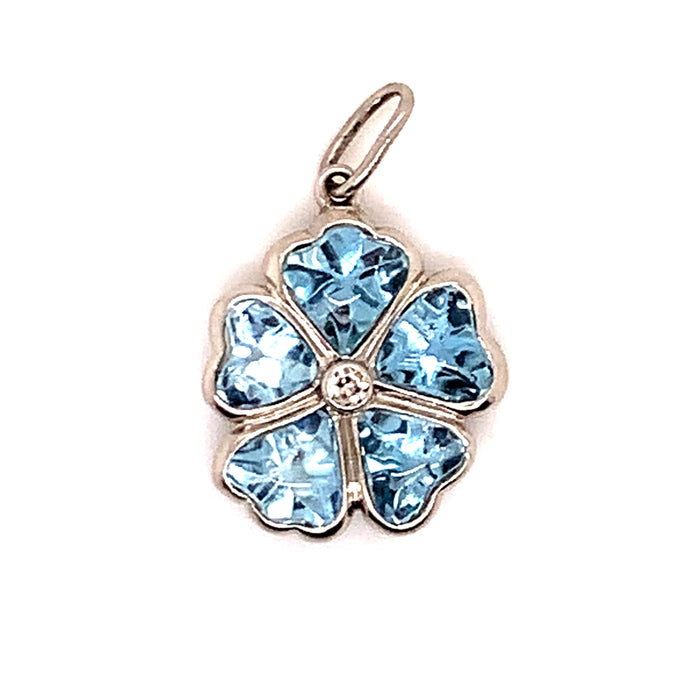 Edwardian Aquamarine Four Leaf Clover Charm