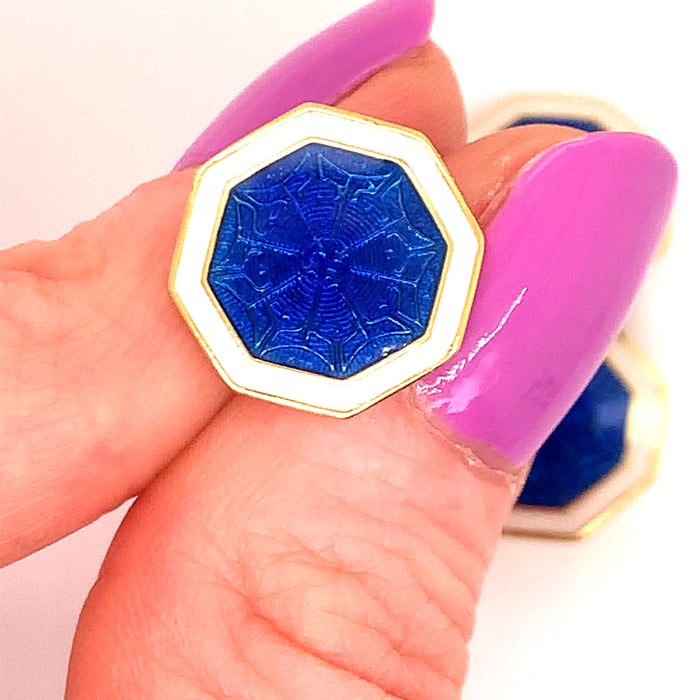 Electric Blue Octagonal Guilloche Enamel Cufflinks