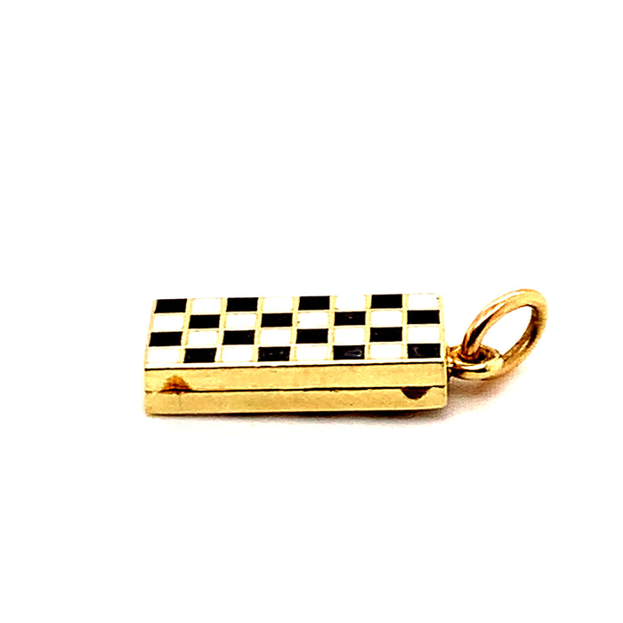 Gold and Enamel Chess Board Charm