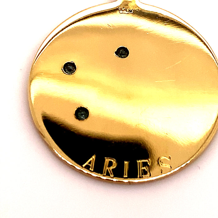 Aries Constellation Aquamarine Disk Charm