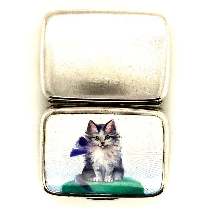 Guilloche Enamel Cat Pillbox