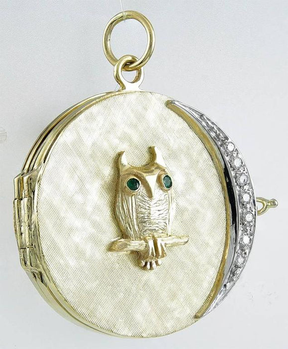 Retro Owl Moon Locket