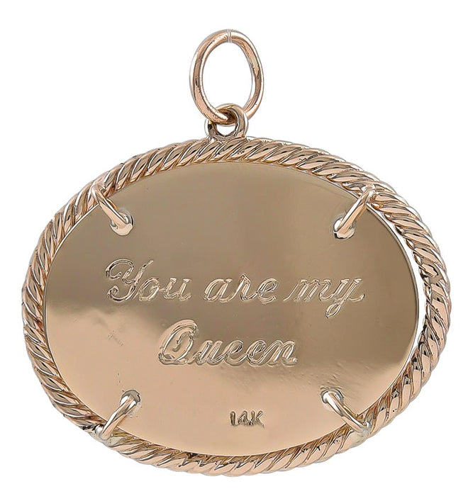 "Ruby Crown Charm Inscribed ""You Are My Queen"""