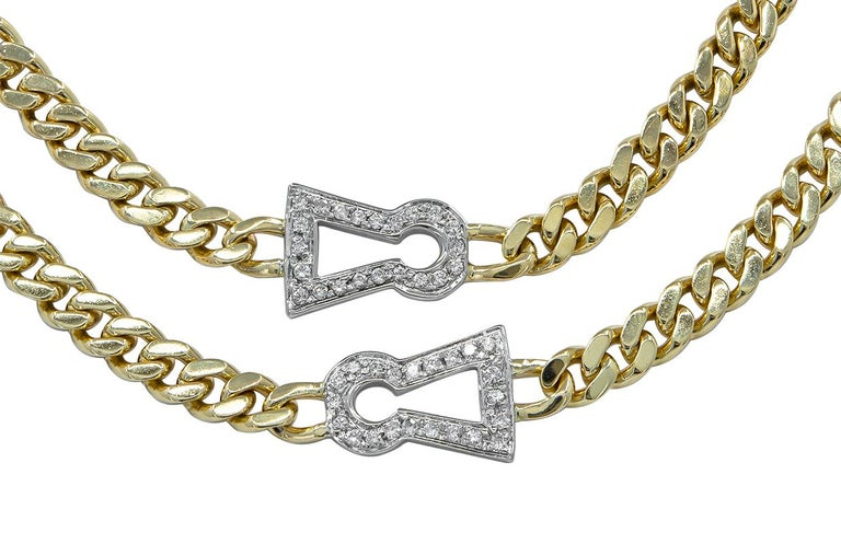Diamond Keyhole Chain Link Necklace