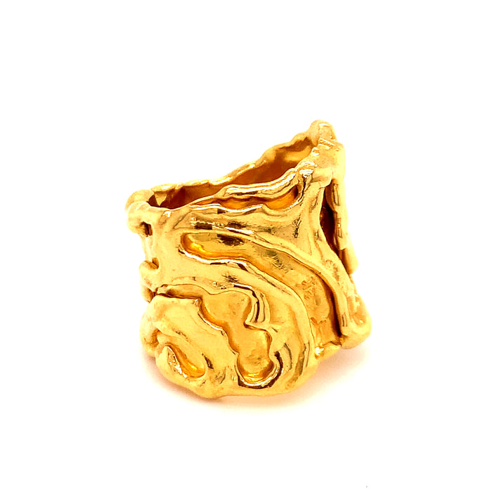 Jean Mahie Sculptural 22k Gold Ring