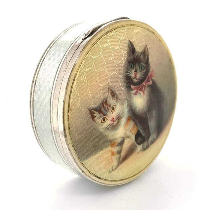 Antique Sterling Enamel Cat Box