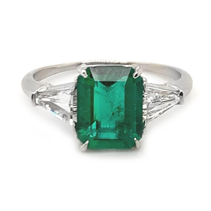 1.60ct Emerald Diamond Three-Stone Ring