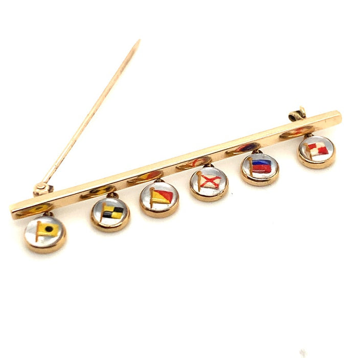 Antique 'I Love U' Flag Pin