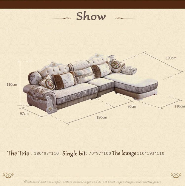 living room furniture modern fabric sofa European sectional sofa set