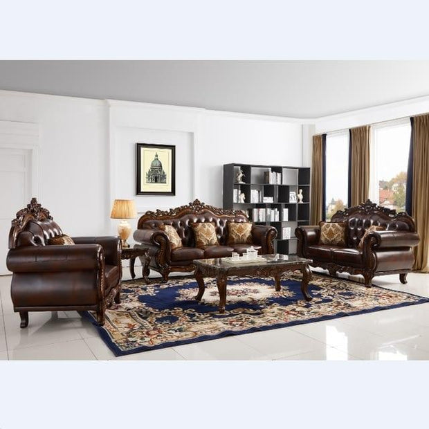 Luxury European and American style living room furniture quality Italia Leather sofa set