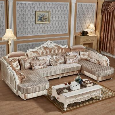 European-style Fabric Sofa Combination U-Shaped Small Living Room Solid Wood Corner Sofa Double Chaise Longue Style Sofa 1PC