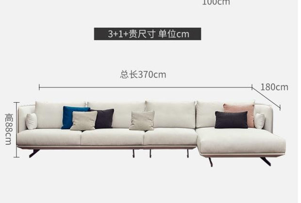 Nordic fabric sofa Simple modern self-contained small apartment  Italian minimalist 3 person living room sofa