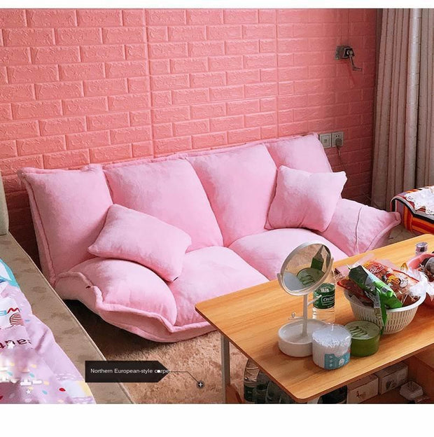 Linen Fabric Upholstery Adjustable Floor Sofa Bed Lounge Sofa Bed Floor Lazy Man Couch Living Room Furniture Video Gaming Sofa