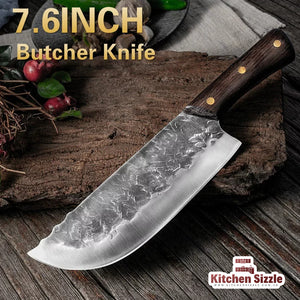 7.6inch Handmade Forged Kitchen Knife Butcher Meat Chopping Cleaver Chef Knife 5CR15 Stainless Steel freeshipping - Kitchen Sizzle