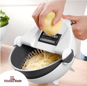 9 In 1 Multifunctional Rotatable Vegetable Slicer and Cutter With Drain Basket freeshipping - Kitchen Sizzle